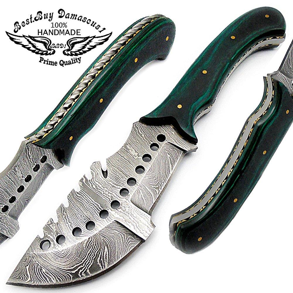 Green Wood 8.2'' Fixed Blade Custom Handmade Damascus Steel Hunting Knife 100% Prime Quality