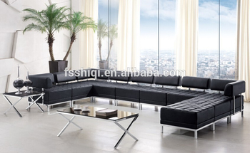 Sectional Sofa U Shape Leather Fabric Made By Pvc Stainless Steel Frame