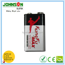 Factory price zinc carbon gp 9 volt 6f22 battery alkaline battery 9v