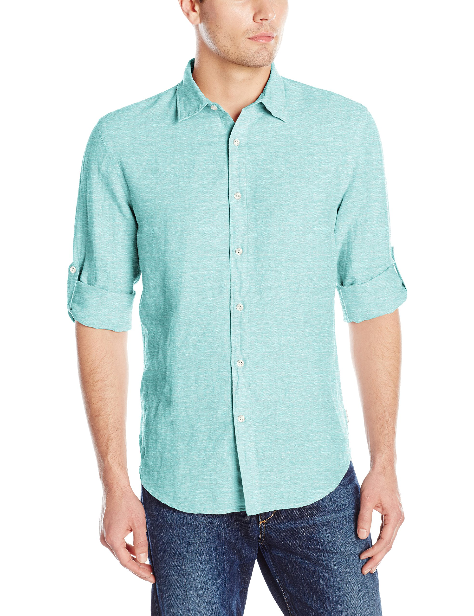 ff129e7ec Get Quotations · Perry Ellis Men's Rolled-Sleeve Solid Linen Cotton Shirt