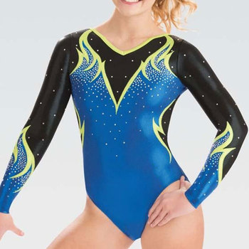 Normzl Wholesale Custom Made Ombre Competition Gymnastics Leotards Long Sleeved For Girls