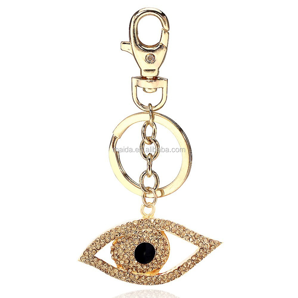 Bulk cheap gold evil eye keyring,zinc alloy mental keychain,new custom floating key chain