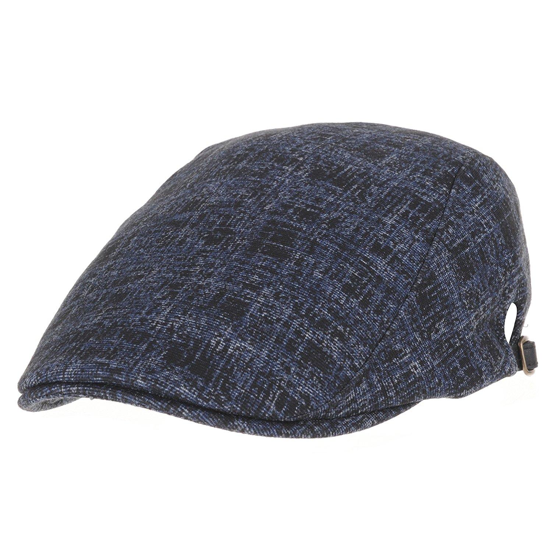 Itzu Mens Army Military Cap Country Houndstooth Tweed Tartan Check Peak Cadet Wool Mix Grey