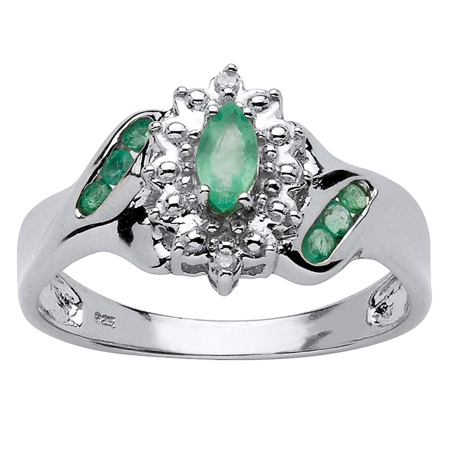 Genuine Green Emerald and Diamond Accent Platinum over .925 Silver Classic Ring