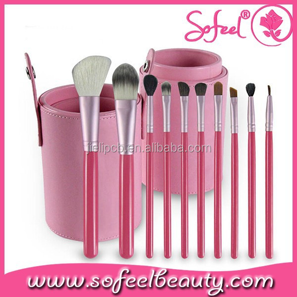 10pcs professional cosmetic makeup brush set case tube