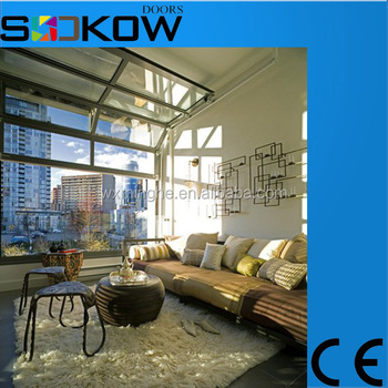 electric sectional aluminium clear glass garage doortransparent