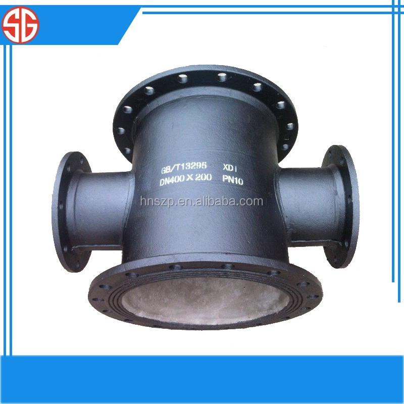 BS 4504 PN16 Ductile Iron Epoxy Powder Coating All Flanged Tee Potable Water