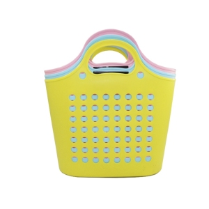 VARYAG Stocked round hole hollow soft durable laundry basket mesh handle plastic vegetable storage basket