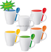 18 years factory wholesale color change 12oz ceramic coffee mug with spoon with printing logo
