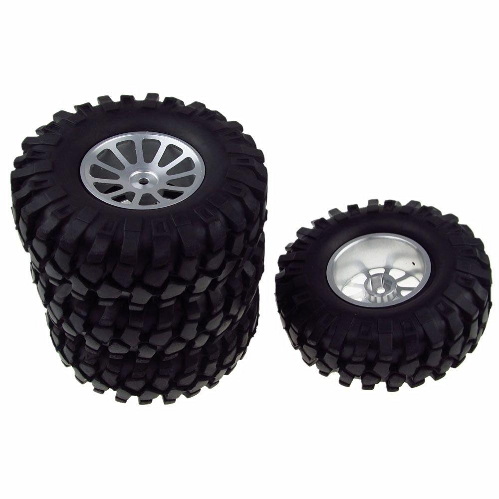 JIUWU 4x RC Car Wheel Rim&Tyre Tires 108mm Aluminum Spoke for 1/10 Model Rock Crawler Silver