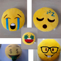 Fine embroidery extremly soft material various design Emoticon plush emoji pillow
