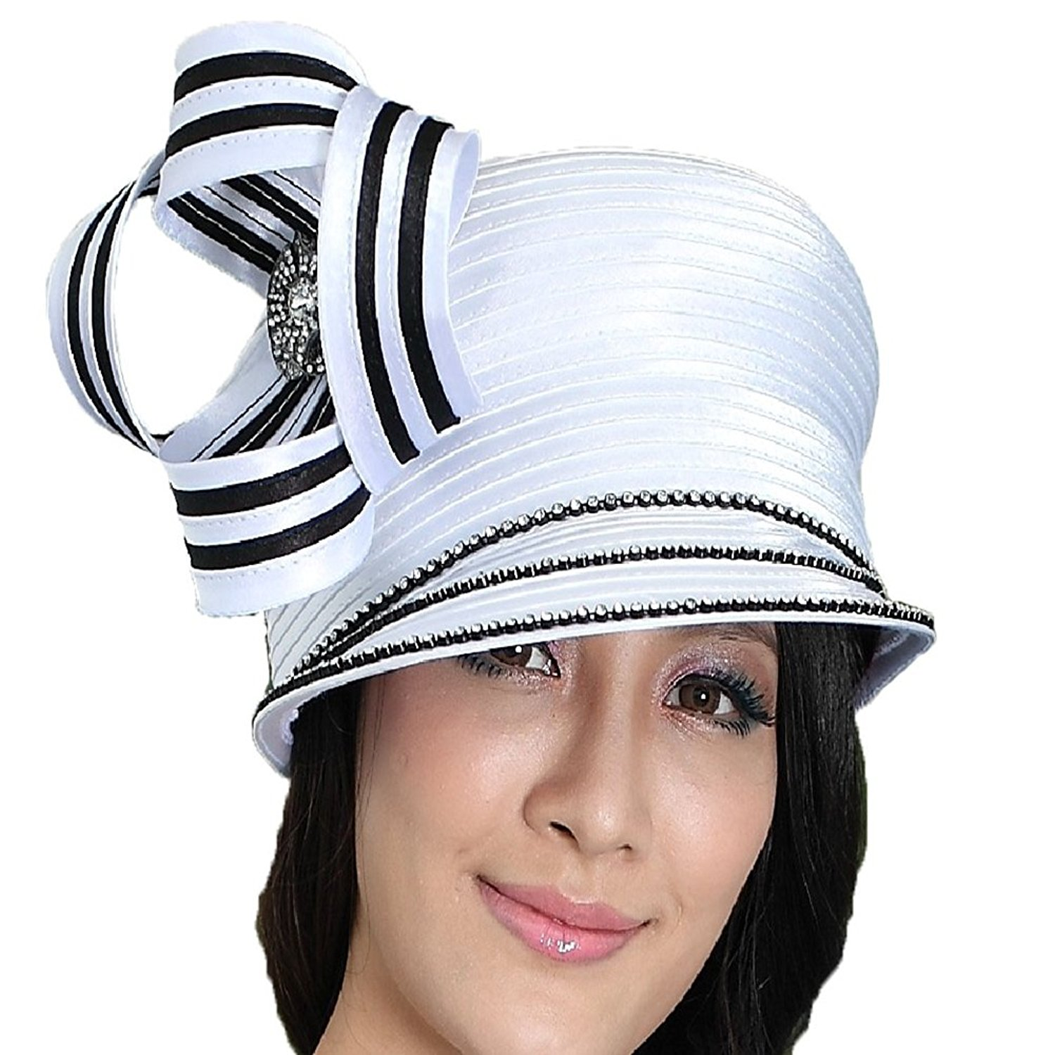 877876ec Get Quotations · June's Young Women Hat Church Hats for Women Satin Hat  Ribbon Bright Color