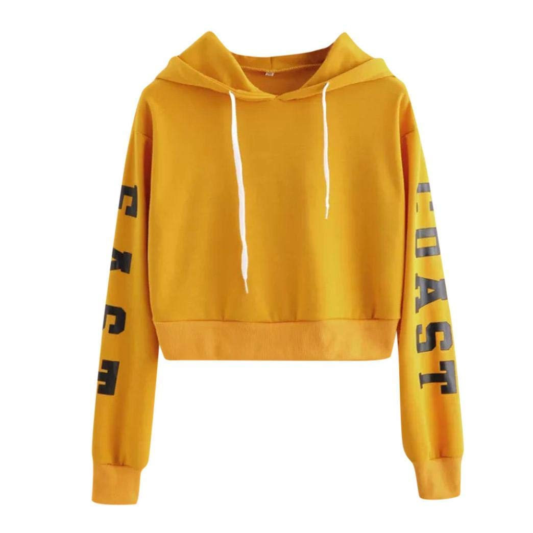 Snowfoller Women Letter Printed Sweatshirt Fashion Long Sleeve Sports Crop Tops for Yoga Running,Casual Pullover Blouse