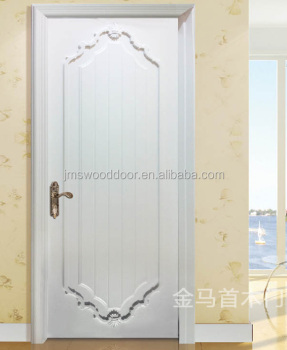 Solid Wood Veneer Door /Laminated Glossy White Oak Finished Contemporary Interior  Door Wood Door Design