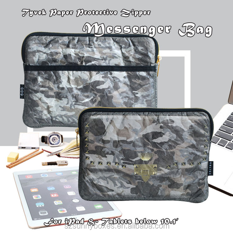 Grey Camo Printing Tyvek Paper Protective Messenger Bag With Back Pocket For iPad & Tablets 10""