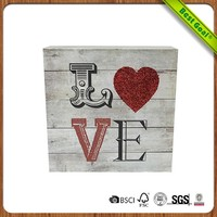 Antique solid wood material wall plaque with love saying