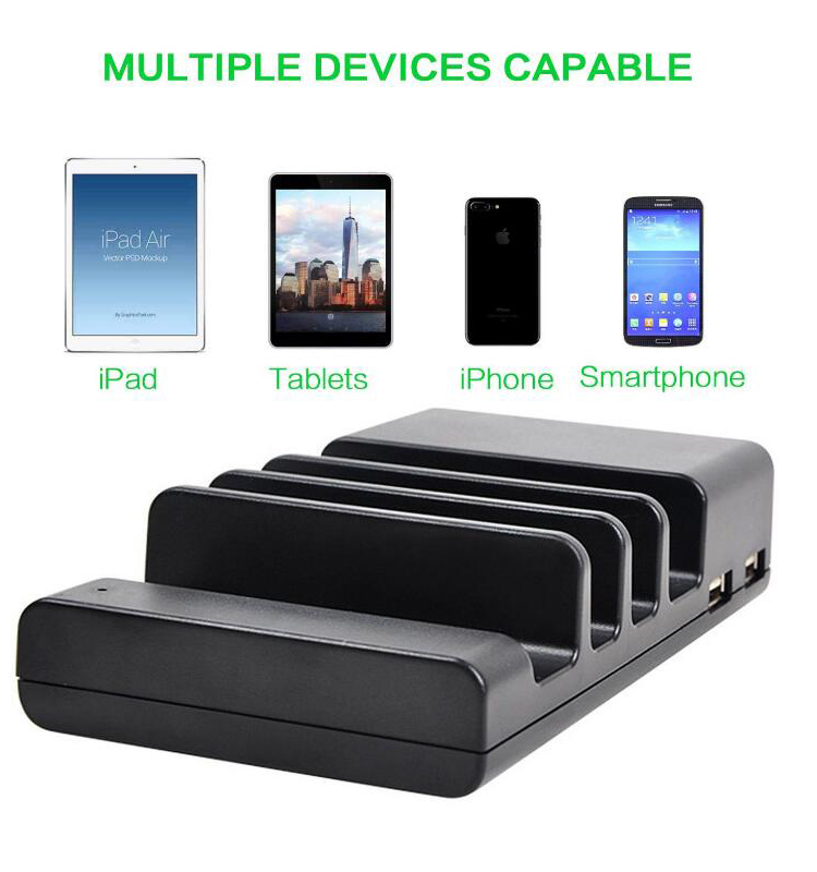 Cell Phone Charging Station 4 Port Usb Charger Dock Stand Desktop Charge Hub Organizer