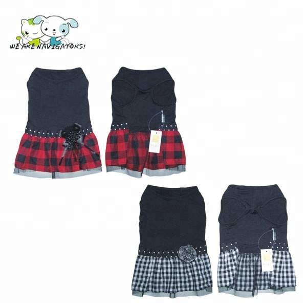 Small Dog Dress Pet Dog Bubble Grid Dress Dog Cat Cute Summer Skirt 2018 Dog Tricolor Plaid Skirt Dress Last Style Dog Clothing & Shoes Pet Products