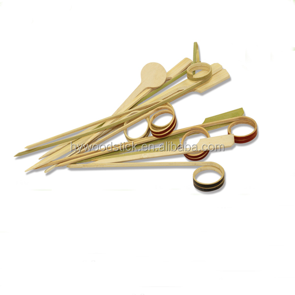 Food Grade Veritical Finger Ring Bamboo Sticks For BBQ