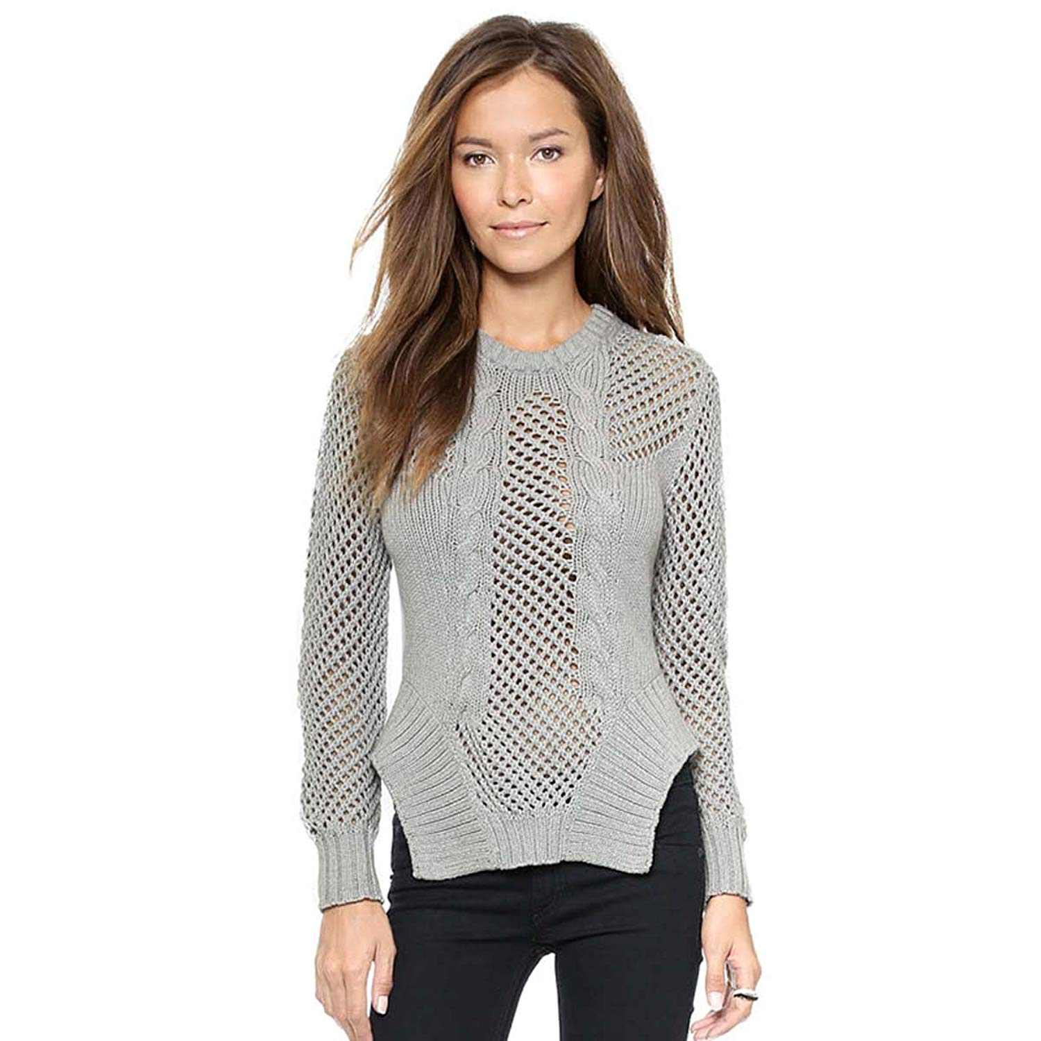 4a0dd90788 Get Quotations · WeHeart Womens Gray Cut Out Asymmetrical Long Sleeve  Sweater