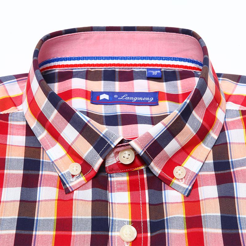 100% хлопок марка дизайн лето короткий рукав рубашки шотландка свободного покроя бизнес платье рубашки