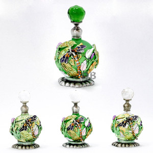 25ml Decorative Metal Perfume Bottles Empty Refillable Glass Bottle Adorned with Metal Dragonfly and Lotus Leaf#57332