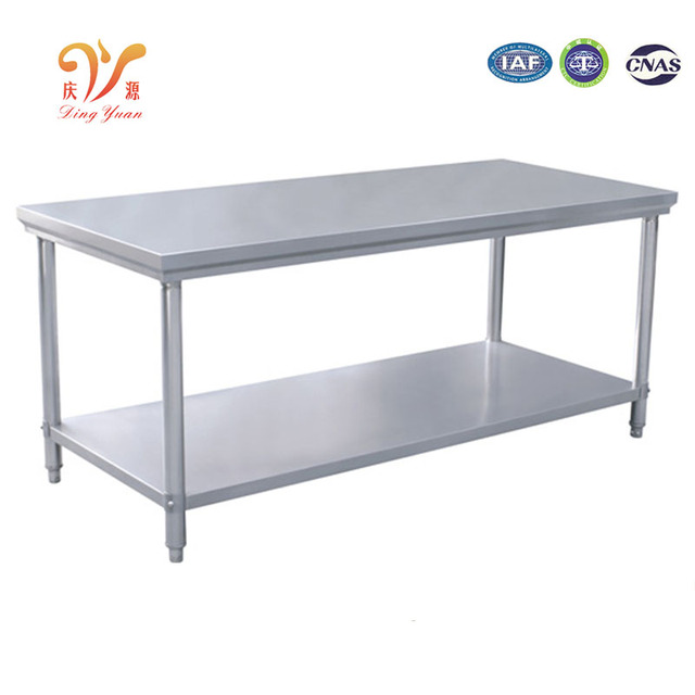 Stainless Steel Kitchen Work Table Restaurant Workbench Kitchen Food  2 Layers Steel Table