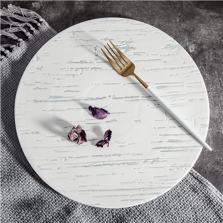 High Quality Hotel Dessert Pizza Dish Dumb White Marble 12inch Round Ceramic charger Plate