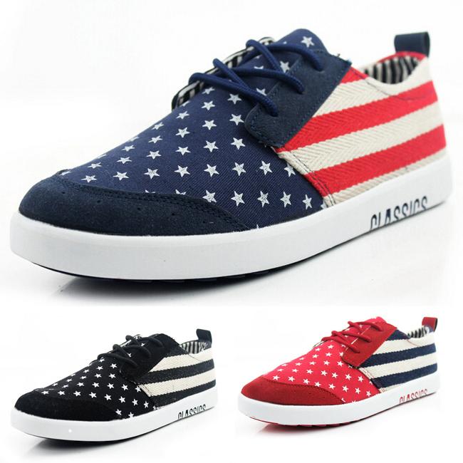 Get Quotations · 2015 Mens Casual Shoes American Flag Canvas Shoes Fashion  Men Sneakers Lace Up alpargatas hombre 3 35666d3d49b