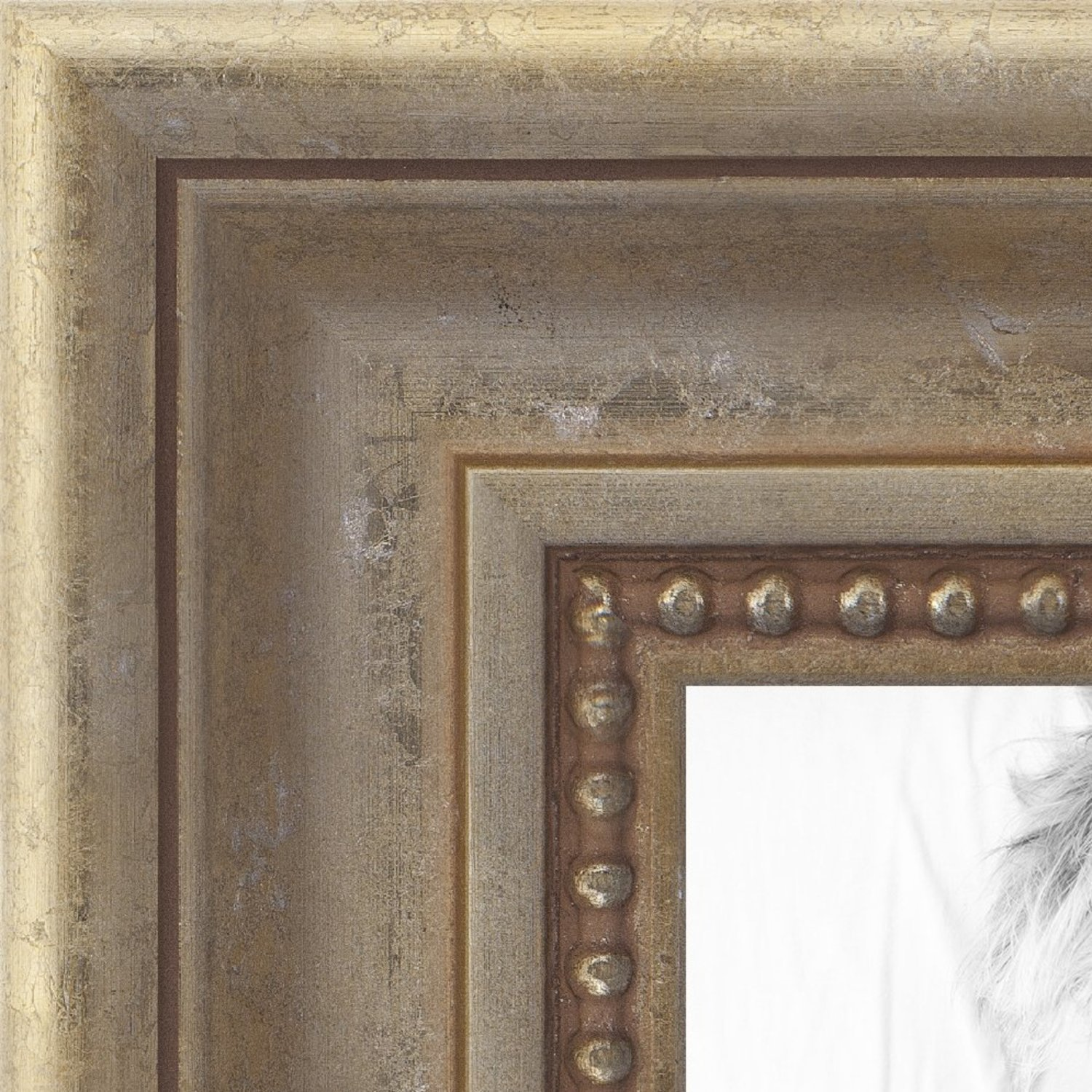 ArtToFrames 24x36 inch Aged White Gold with Beaded Detailing Wood Picture Frame, WOMD8808-24x36