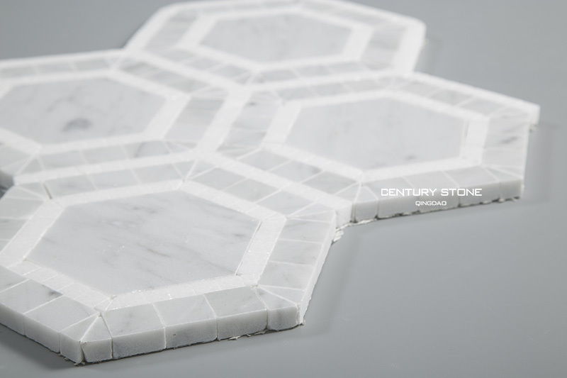 Carrara and white thassos marble hexagon mosaic bathroom floor tile buy hexagon mosaic floor Marble hex tile bathroom floor