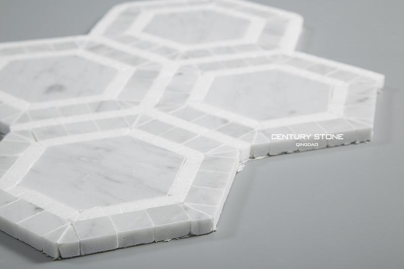 Carrara And White Thassos Marble Hexagon Mosaic Bathroom Floor Tile Buy Hexagon Mosaic Floor