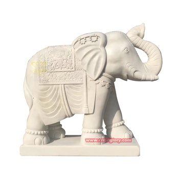 Hand Carved marble Mascot elephant Statue for garden Home decor
