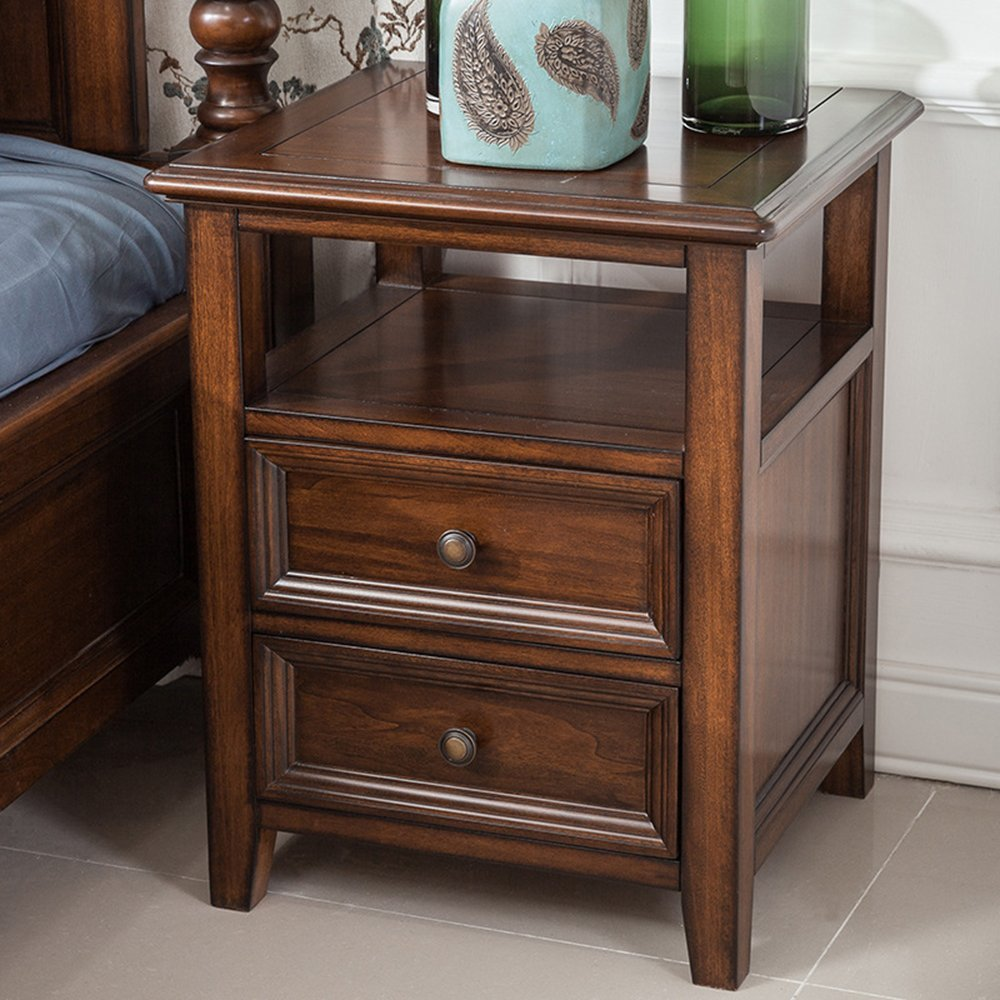 LJ&L Home bedroom luxury pure hand-bedside cabinet, copper handle tenon craft, American retro style multi-purpose lockers,Black walnut,19.617.723.6inch