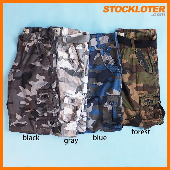 Camouflage pants with belt & 9 pockets clearance stock 150701-703