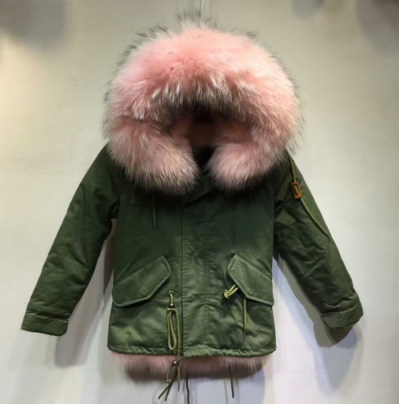 Girls Winter Parka,Pink Fur Hood Down Jacket For Children,Fox Fur ...