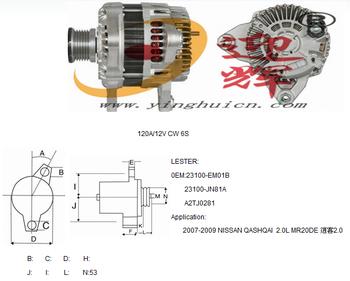 High Quality Car Alternator For Qashqai 2.0l Mr20de,120a/12v Cw 6s,Oem: on