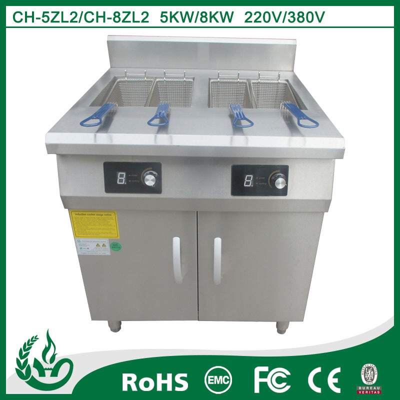 Double tank induction deep fryer for kitchen equipment