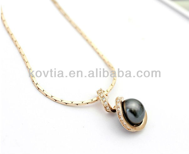 Supply 18K gold Austrian crystal and imitation pearl jewelry necklace whlosaler