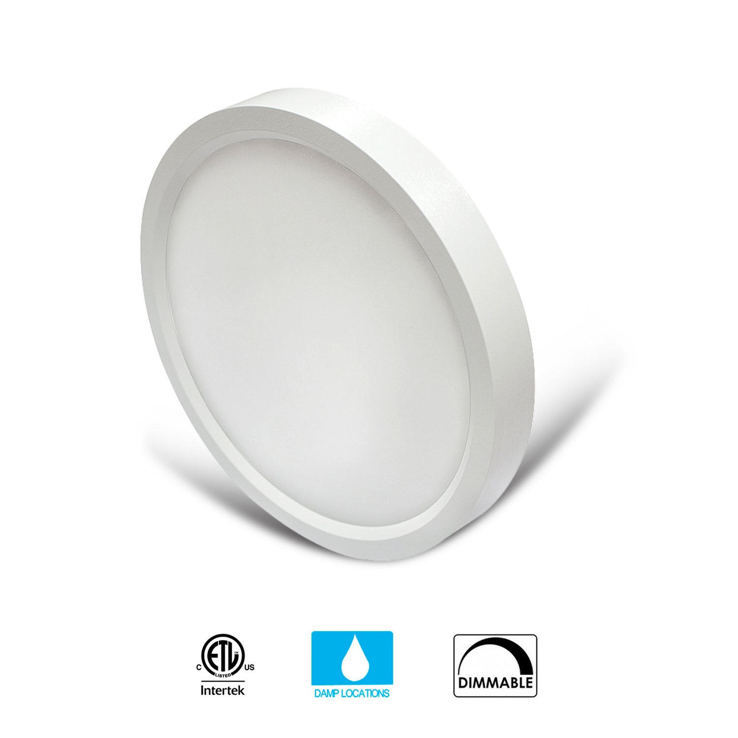 JULLISON 5 Inch LED Surface Mount Light Fixture, Round, 120VAC, 10W, 600LM, 3000K Soft White, CRI80, Driverless, Edge Lite Flush Mount Ceiling Light, ETL Certified, Damp Location, White, 1 Pack