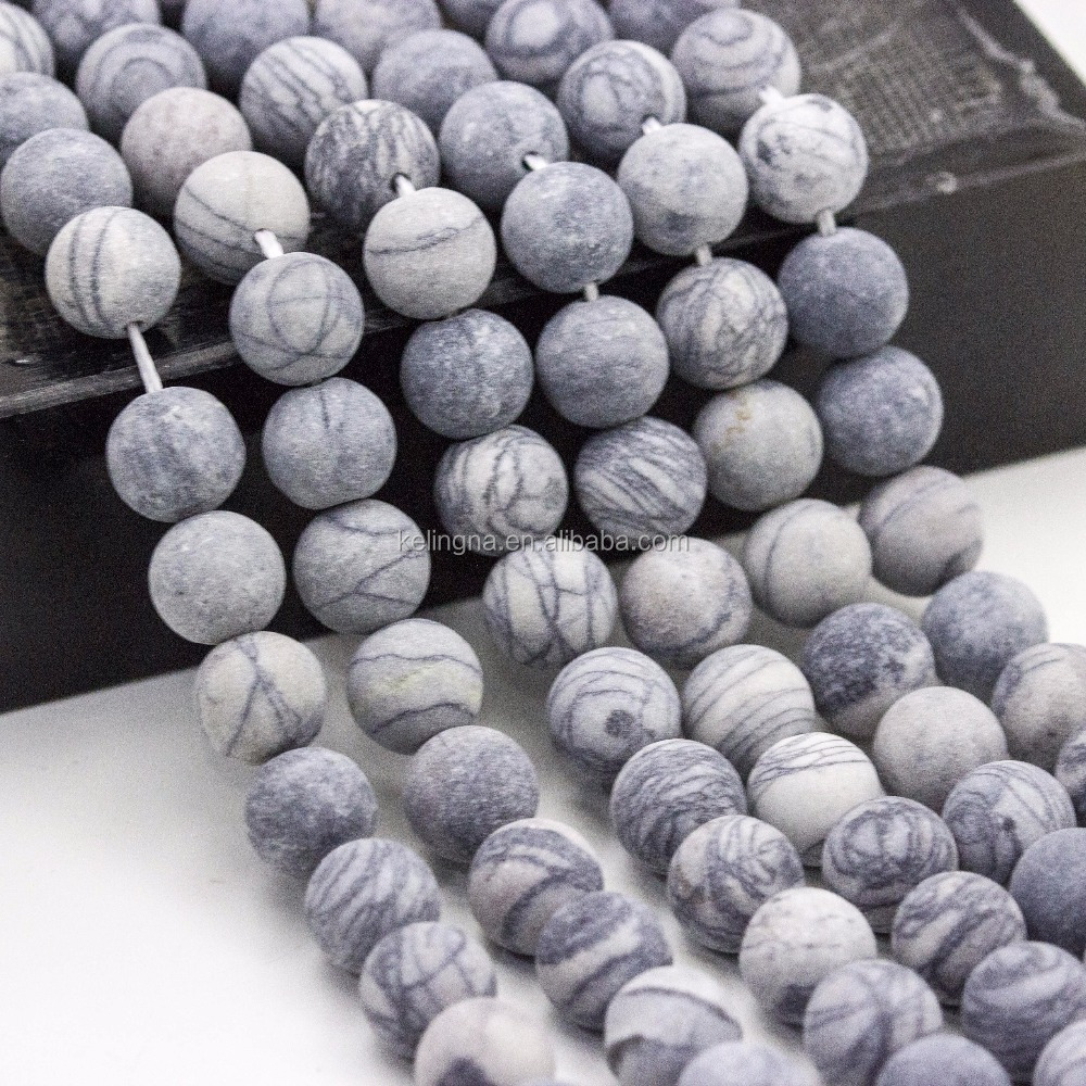 Fashion Wholesale Frosted Wed Jasper Round Latest Design Beads Necklace