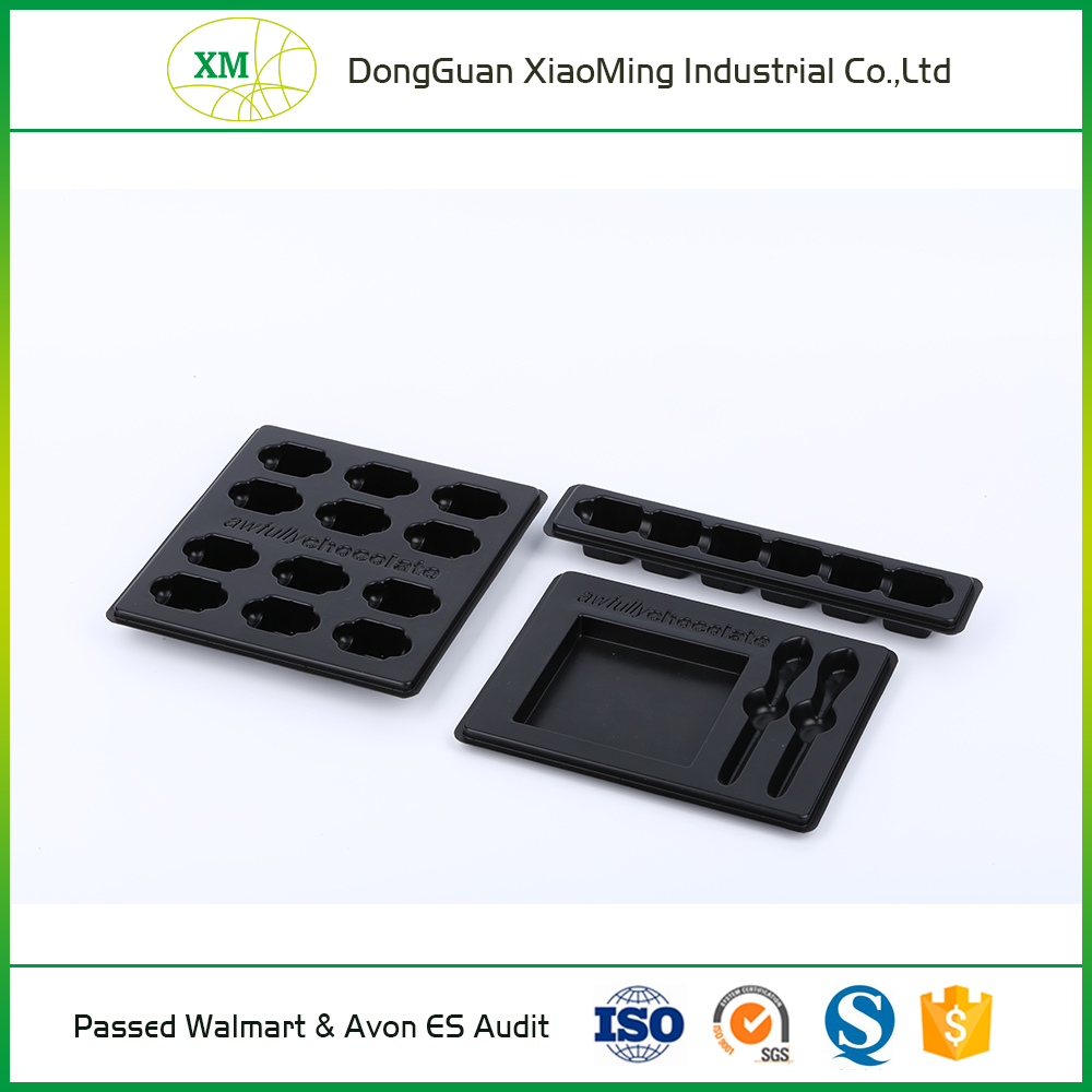 Black or brown disposable chocolate plastic blister packing tray
