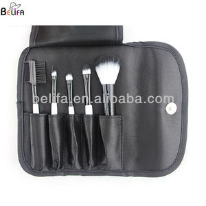 2013 alibaba hot sell 5 pcs mini two color artificial make up brush set including powder brush eyeshadow brush eyebrow comb