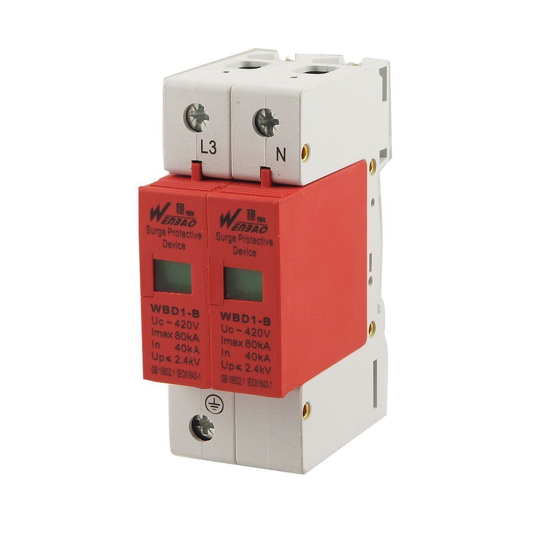 Baomain Surge Protection Device Arrester WBD1-2P AC 420V 80KA Max Current 40KA In 1P+N Din Rail Mount