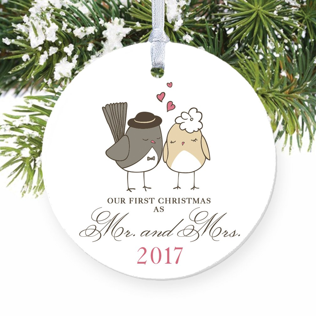 get quotations love birds ornament 2018 mr mrs ornament wedding gift porcelain ornament 1st - Our First Married Christmas Ornament