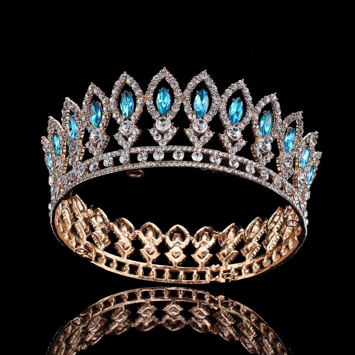 Blesiya Vintage Tiara Big Crown Wedding Bridal Crystal Headpiece Headband