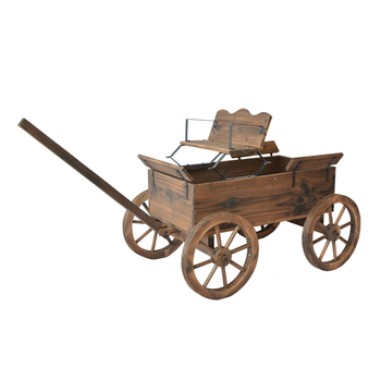 Wood Planter Wagons Antique Style Balcony Patio Carts