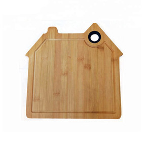 Wholesale Large Organic House Shaped Bamboo Cutting Board With Silicone Ring