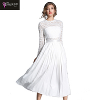 Europe and America Water Soluble Long Sleeve Lace Dress Crochet White Patchwork Split Dress