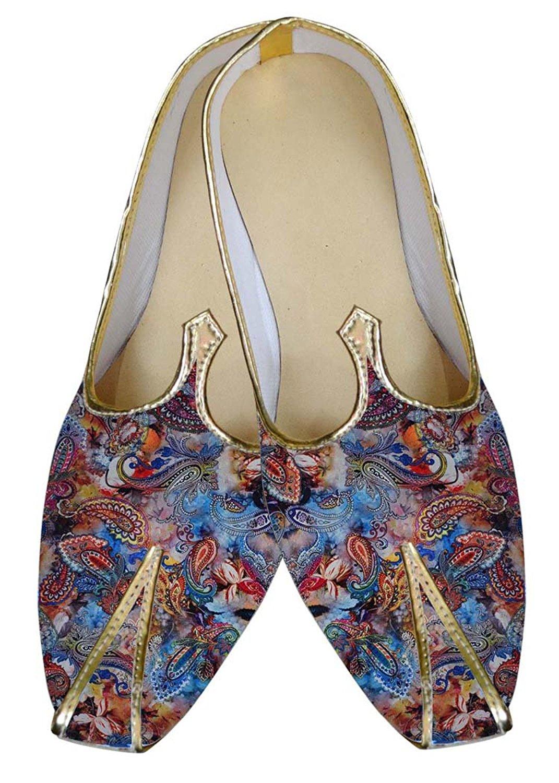 INMONARCH Mens Juti Sky Blue Wedding Shoes Paisley Pattern Sherwani Shoes MJ015643
